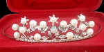 Princess Tiaras And Crowns 3.20 Ct Natural Certified Diamond Pearl Sterling Silver Diamond Tiara